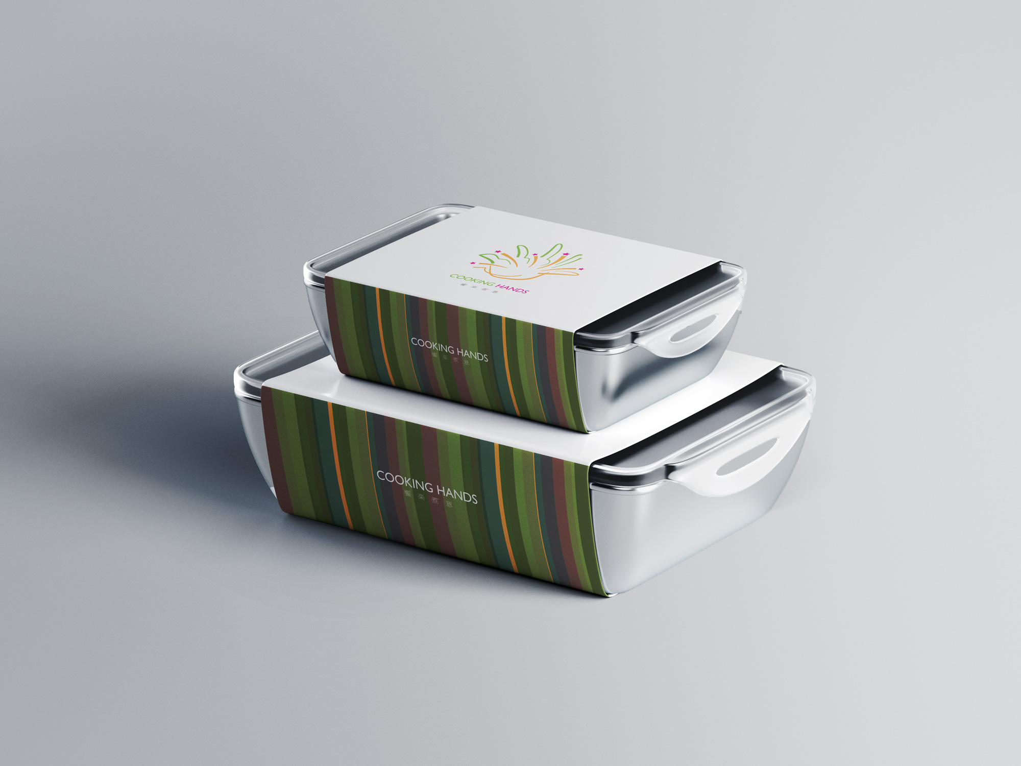 Cooking Hands Food Container Mockup With Label