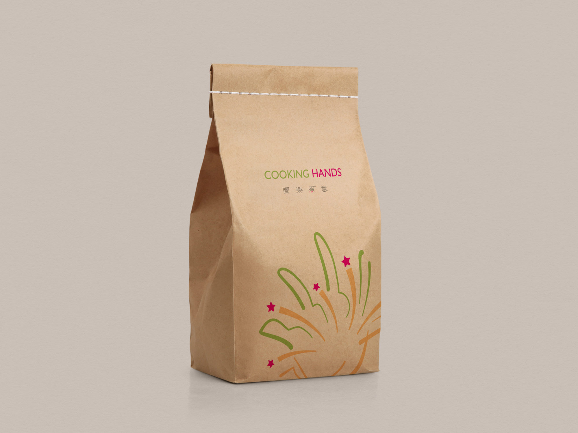 Cooking Hands Free Stitched Craft Paper Bag Mockup