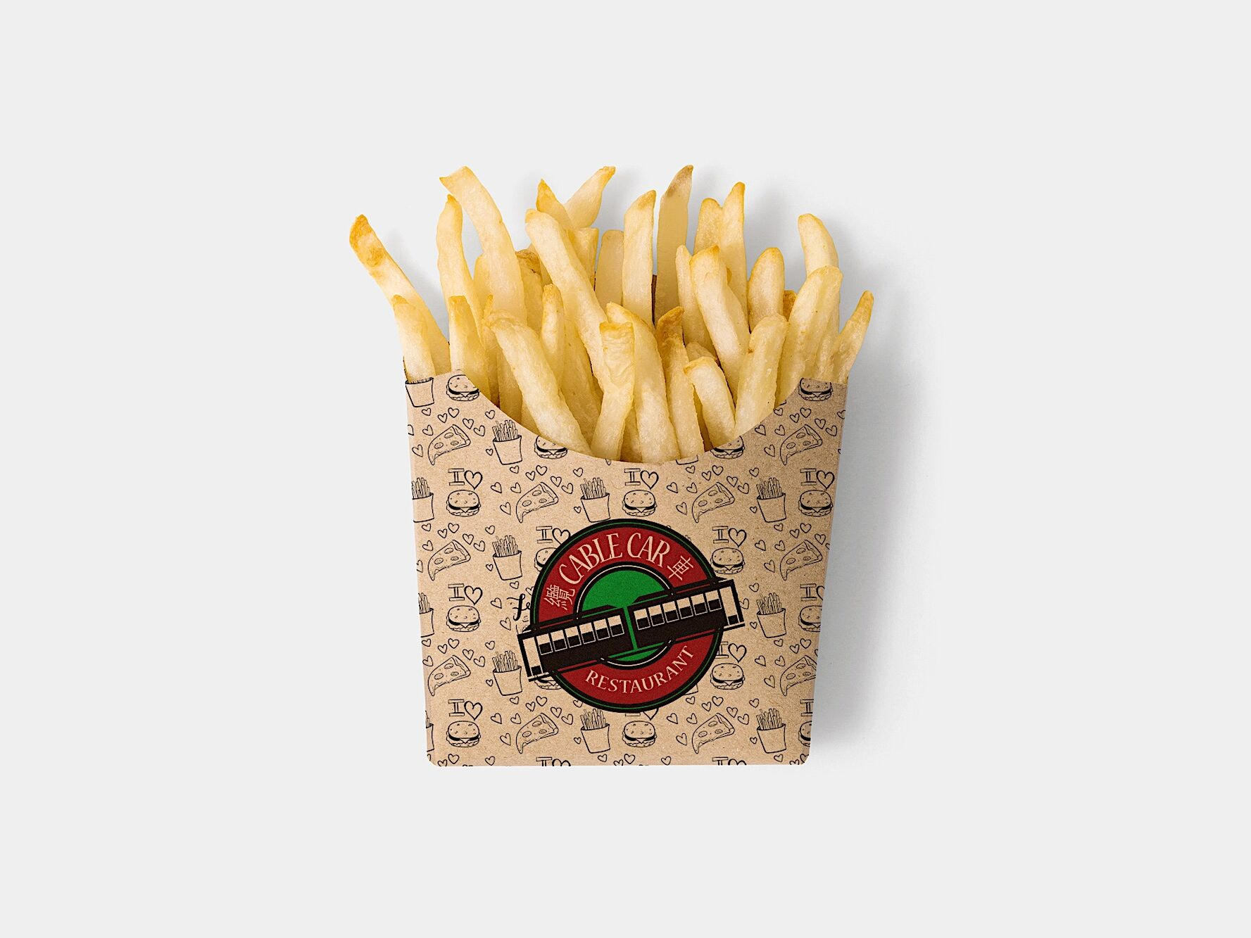 Cable Car Free Brown Paper French Fries Box Mockup